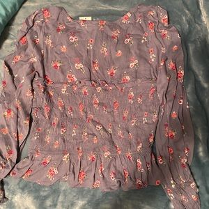 NWT Planet Gold Gray Floral Blouse